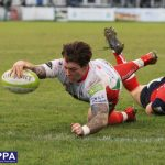 Dan Mugford of Plymouth Albion dives for the line during the National Division 1 match between Plymouth Albion v Hull Ionians at the Brickfields Recreation Ground, on December 2nd 2017, Plymouth, Devon, UK. PHOTO: Cameron Geran/PPAUK